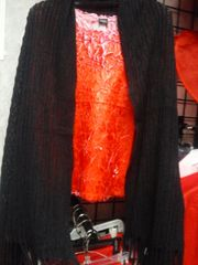 Black Knit Shawl with Fringes #3529