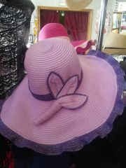 Lavender and Purple Straw Hat #3296