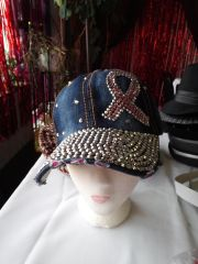 Dark Denim Cap with Pink Ribbon and Rhinestones