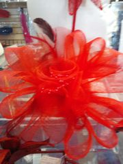 Large Red Fascinator #2009