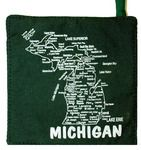 Green and White Michigan Pot Holder 5707