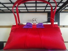 Red with Purple Satin Purse #3439