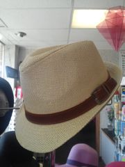 Beige Fedora with Belt Band #3294
