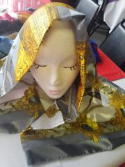 Gold with Silver Scarf #2984 42 x 42