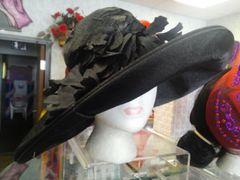 Black Satin Hat #3677