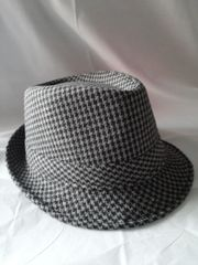 Black and Grey Houndstooth Fedora