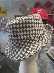 Brown and White Houndstooth Fedora