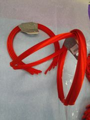 4 Pk Red Satin Headbands #7000