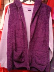 2 Pocket Purple Woven Vest with Hood #3500