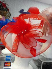 Red Fascinator with Stones #3505