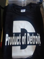 Black w White Product of Detroit Shirt 4201