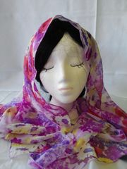 Red with Purple Flower Chiffon Scarf