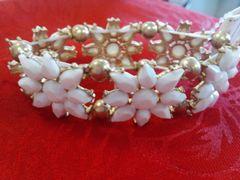 White with Gold Flower Bracelet