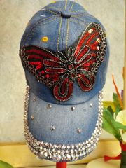 Navy Blue Jean Cap with Red Butterfly