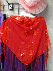 Red Shawl with Sequin /Fringes #2696