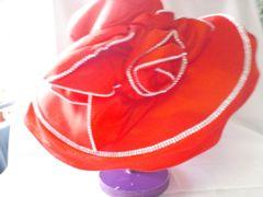 Wide red flower burst hat