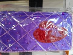 Purple Clutch Purse with Red Hat