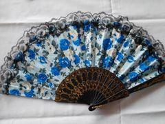 Blue Floral Fan