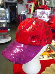 Red and Purple Cap with Sequin