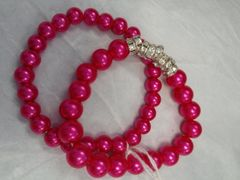 Hot Pink Dual Bead Bracelet with Stone