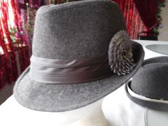 Grey Fedora with Satin Flower