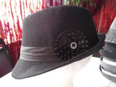 Black Fedora with Flower