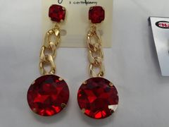 Large Red with Gold Dangling Earrings