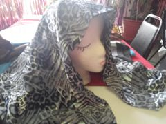 Silver Leopard Scarf #2989 42 x 42