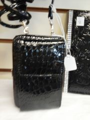 Black Texture Wallet with Strap
