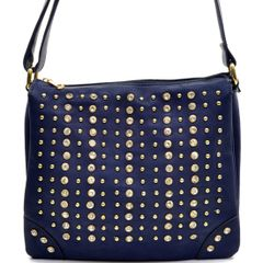 Navy Studded Messenger Bag #3109