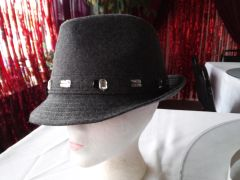 Grey Fedora with Rhinestones