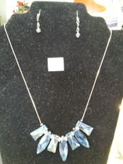 Blue/Silver Stone Necklace Set