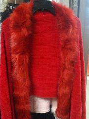 Red Shawl w Fur