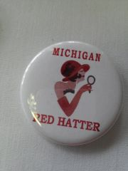 Michigan Red Hatter Button