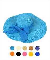 Royal Blue Wide Brim Straw Hat #3086