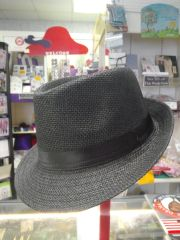Plain Black Straw Fedora (Unisex)