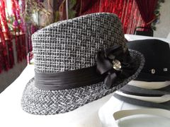 Dark Gray Fedora with Rhinestone