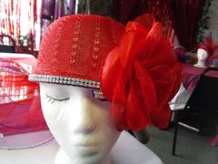 Red Straw Hat with Flower #2866