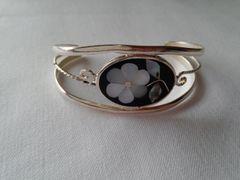 Black Inlaid Bracelet with Flower