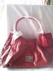 Red leather handbag 2