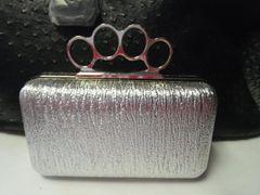 Silver Knuckle Clutch Purse