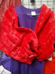 Red Faux Fr Shawl with Sequin 5807