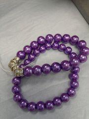 Dual Purple Bead Bracelet with Stones