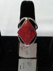 Diamond Shape Pink Turquoise Inlay Ring