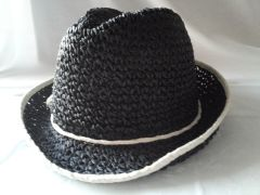 Black w White Crochet Fedora