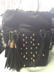 Black Faux Leather Purse with Fringes and Studs