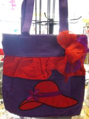 Purple Red Hat Tote with Removable Flower Pin