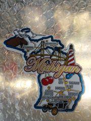 Michigan Map Lg Magnet #3619