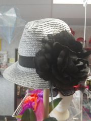 Silver with Black Flower/Band Fedora