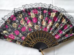 Black, Pink and Yellow Floral Fan